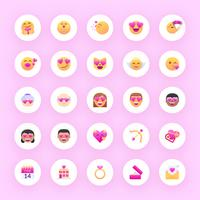 ensemble de vecteurs valentine emoji