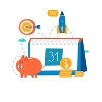 Calendrier financier, planification financière vecteur