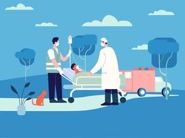 médecin emmenant le patient à l'illustration de l'hôpital, concept de vecteur de service d'ambulance d'urgence