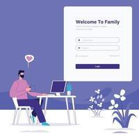 homme utilisant l'illustration du concept de connexion pc dans l'application de connexion à l'écran avec mot de passe vector illustration stock enregistrement en ligne et concept d'inscription. jeune homme s'inscrivant ou se connectant à un compte en ligne