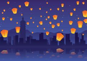 fête des lanternes du ciel de taiwan vecteur