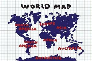 style de dessin à main levée de la carte du monde et du continent sur papier quadrillé. vecteur