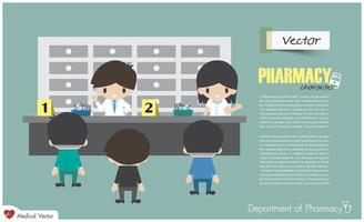 département de pharmacie. les pharmaciens dispensent aux patients hospitalisés. conception plate. vecteur. vecteur