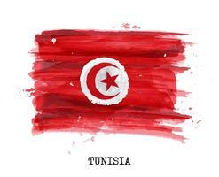 drapeau de conception de peinture à l'aquarelle de la tunisie. vecteur. vecteur
