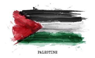 drapeau de peinture à l'aquarelle réaliste de la palestine. vecteur. vecteur