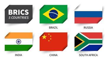 brics. association de 5 pays . conception de drapeau de papier inséré. vecteur. vecteur