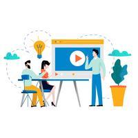Formation professionnelle, éducation, tutoriel vidéo vecteur