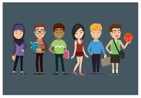 Adolescents multiculturels vecteur