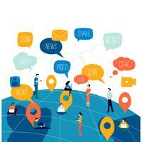 Réseau social, réseautage, personnes connectées