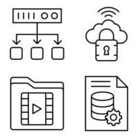 pack d'icônes linéaires de base de données vecteur