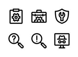 ensemble simple d'icônes de lignes vectorielles liées à l'aide et au support. contient des icônes comme presse-papiers, sac, enquête de recherche et plus encore. vecteur