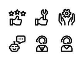 ensemble simple d'icônes de lignes vectorielles liées à l'aide et au support. contient des icônes comme commentaires des clients, support technique, service de développement et plus encore. vecteur