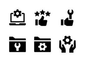 ensemble simple d'icônes solides vectorielles liées à l'aide et au support. contient des icônes comme le pouce levé, la prise en charge du système, le développement et plus encore. vecteur