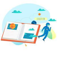 Education, cours de formation en ligne, illustration de vecteur plat éducation à distance