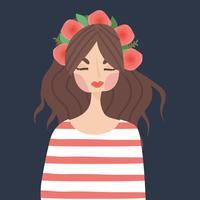 Belle fille douce avec des fleurs