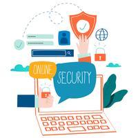 Sécurité en ligne, protection des données, sécurité Internet, connexion Internet sécurisée, conception d'illustration vectorielle plane pour les graphiques Web et mobiles