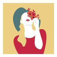 Fille avec fleurs chapeau illustration vectorielle vecteur