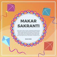 Illustration de fond de vecteur plat Makar Sankranti