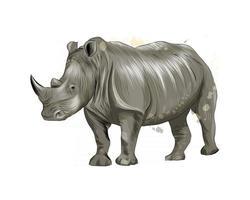 rhinocéros d'une touche d'aquarelle, dessin coloré, réaliste. illustration vectorielle de peintures vecteur