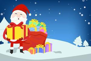 Père Noël avec des coffrets cadeaux vecteur