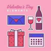 éléments de Saint Valentin set vector
