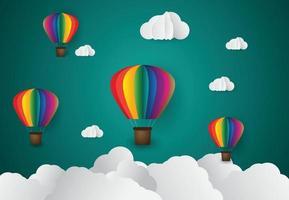 style d'art du papier. origami a fait un nuage de ballons à air coloré. ciel bleu et coucher de soleil vecteur