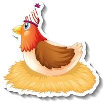 un modèle d'autocollant avec du poulet portant un personnage de dessin animé de chapeau de fête vecteur