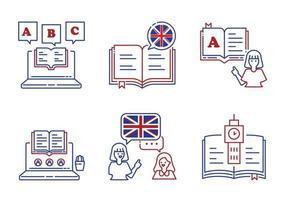 jeu d'icônes de ligne d'apprentissage de l'anglais vecteur