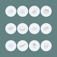 jeu d'icônes de couverture en surbrillance alimentaire vecteur