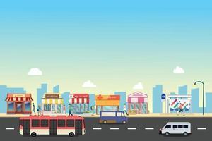rue de la ville et bâtiments de magasin avec bus, minibus avec des gens dans la rue vecteur, un design de style plat.les gens marchent avec une vitrine commerciale et un arrêt de bus public en milieu urbain vecteur