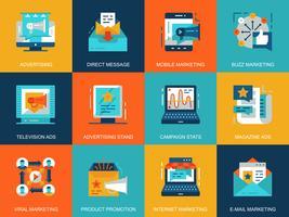 Icônes de promotion et de publicité plat conceptuel