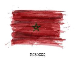 drapeau de conception de peinture à l'aquarelle du maroc. vecteur. vecteur