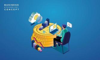concept de technologie blockchain, analyse de données pour les investisseurs, solutions marketing ou performance financière. concept de statistiques crypto monnaie, illustration vectorielle isométrique design plat moderne vecteur