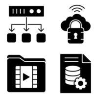 pack d'icônes de glyphes de base de données vecteur