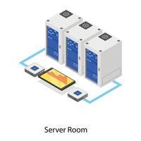 salle des serveurs et base de données vecteur