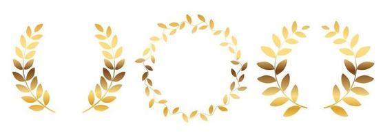 ensemble de collection de silhouette de couronne de laurier isolé sur fond blanc. illustration vectorielle vecteur