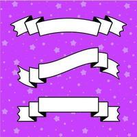ensemble de bannière de ruban isolé plat blanc avec un contour noir sur fond violet vecteur