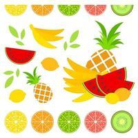 un ensemble de délicieux fruits isolés colorés sur fond blanc. nourriture tropicale juteuse, lumineuse et délicieuse. illustration vectorielle plane simple. adapté à la conception d'emballages, de cartes postales, de publicité. vecteur