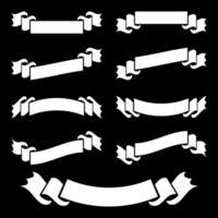 ensemble de bannière de ruban isolé plat blanc sur fond noir vecteur