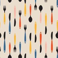 modèle sans couture avec des fourchettes, des couteaux d'extrémité de cuillères. illustration vectorielle vecteur