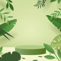 scène minimale abstraite avec des formes géométriques. podium de cylindre en fond vert vecteur