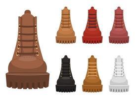 Illustration de conception de vecteur de bottes en cuir isolé sur fond blanc
