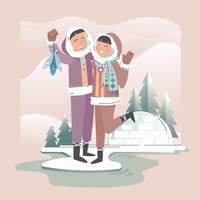 Couple heureux romantique esquimau vecteur