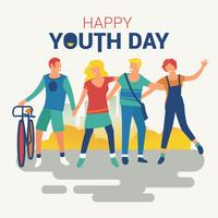 Bonne fête de la jeunesse avec un jeune garçon et une fille vecteur