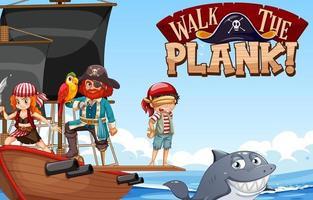 marcher la bannière de police de planche avec de nombreux personnages de dessins animés de pirates sur le navire vecteur