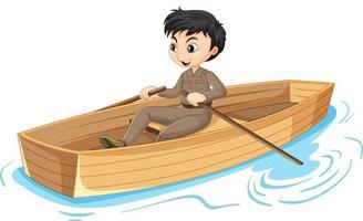 personnage de dessin animé garçon ramant le bateau isolé vecteur