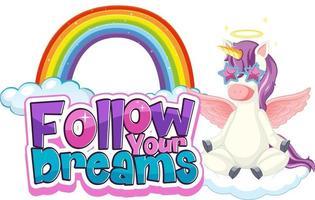 personnage de dessin animé pégase avec bannière de police suivez vos rêves vecteur
