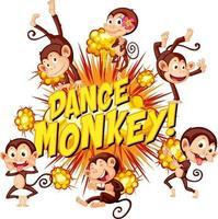 bulle de dialogue comique avec texte de singe de danse vecteur