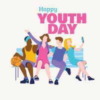 Le concept de la journée de l'amitié, Journée internationale de la jeunesse vecteur
