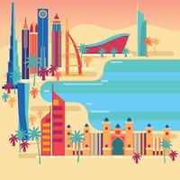 Monuments de Dubaï près de la plage vecteur